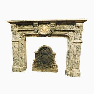 Antiker italienischer Kamin aus weißem Carrara & grauem Marmor, 1810er