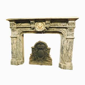 Antique Italian White Carrara & Grey Marble Fireplace, 1810s