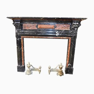 Large Antique Italian Red & Black Marble Inlaid Fireplace, 1820s