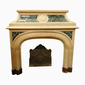 19th-Century Antique Italian Green Lacquered & Yellow Marble Fireplace