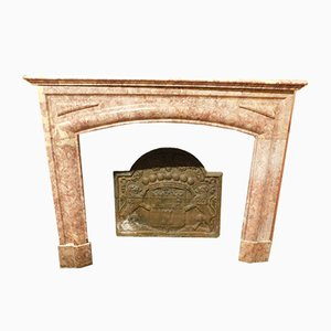 Antique Italian Linear Red Marble Fireplace
