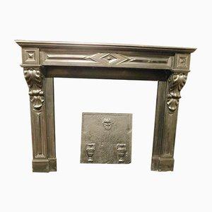 Antique Italian Black Marble Fireplace