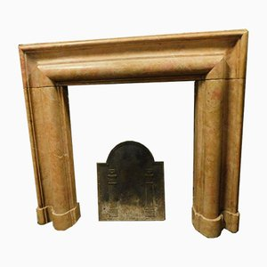 Antique Italian Peach Marble Fireplace, 1800s