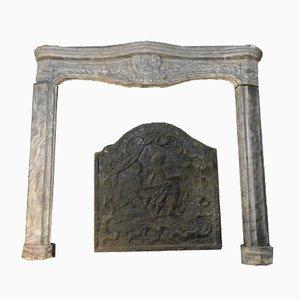 Antike italienische Kaminverkleidung aus grauem Bardiglio Marmor