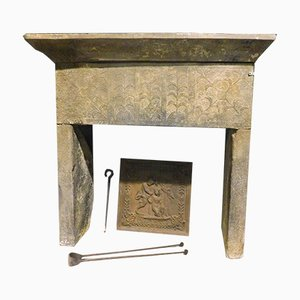 Antique Italian Gray Stone Fireplace Mantel with Relief Decor