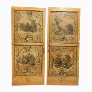 Antique Italian Hand-Painted Wooden Doors, Set of 2
