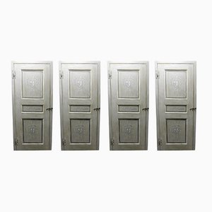 Antique Hand-Painted Grey Lacquered Doors with Frames, Set of 4