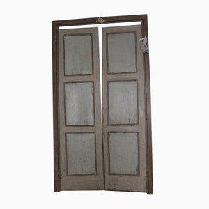 Antike lackierte Doppeltür, 1740er
