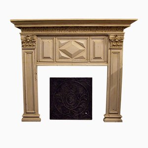 Antique Lacquered Fireplace Mantel, 1780s