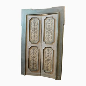 Antique Lacquered Double Door with Frame
