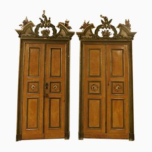 Antique Lacquered Doors with Frame, Set of 2