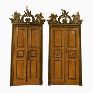 Puertas lacadas antiguas con marco. Juego de 2