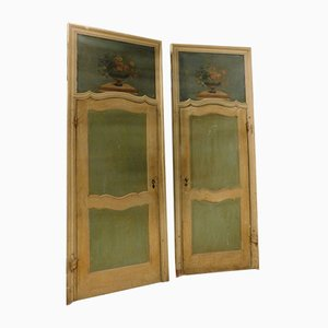 Antique Lacquered Door with Painting on the Top
