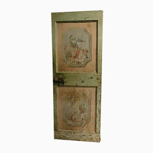 Antique Green and Pink Lacquered Wooden Door with Animals and Flowers