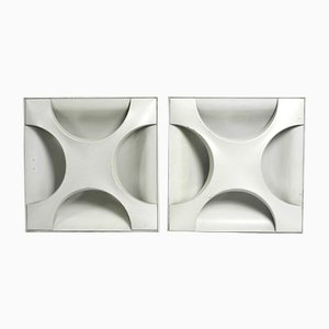 Large Space Age Model A247 Metal Wall Lights by Dieter Witte & Rolf Krüger for Staff, 1960s, Set of 2