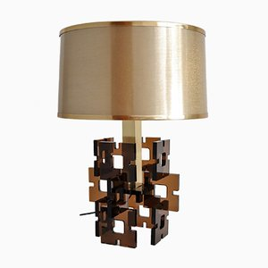 French Plexiglas Table Lamp, 1970s
