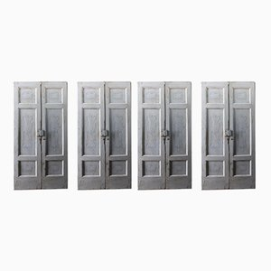 Antique Italian Grey Lacquered Wooden Doors with Faux Marble Frame, Set of 4