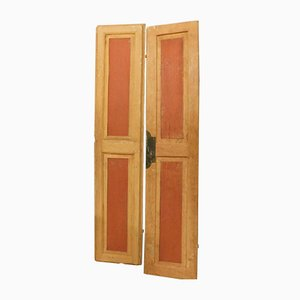 Italian Orange & Red Lacquered Double Wood Door, 1800s