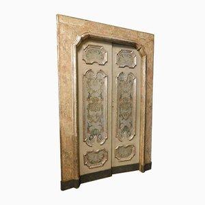 Antike lackierte & versilberte italienische Doppeltüren aus Holz mit Rahmen