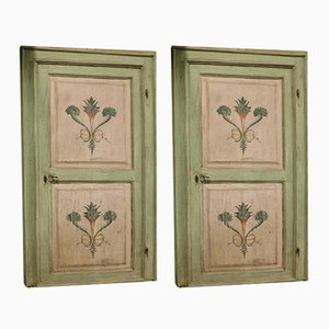 Antique Italian Hand-Painted Green and Pink Doors with Frame, Set of 2