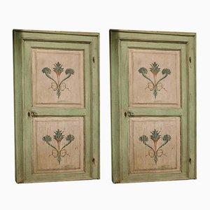 Portes Antiques Roses et Blanches Peintes à la Main avec Cadre, Italie, Set de 2