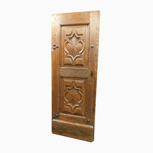 Antike italienische Eingangstür aus braunem Nussholz mit Schlüssel