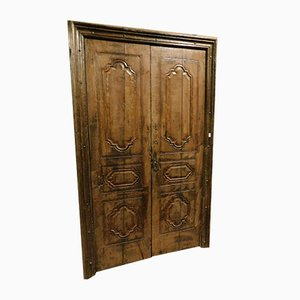 18th-Century Italian Chestnut Door with Original Frame, 1750s