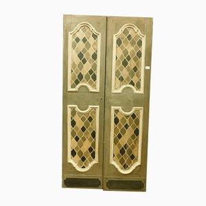 Antike handbemalte italienische Tür in Grau, Braun & Weiß