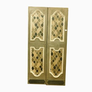 Antique Italian Hand-Painted Grey, Brown & White Lacquered Door