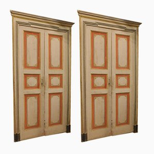 Antique Italian White and Red Lacquered Doors, 1700s, Set of 3