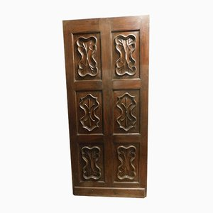 Thin Antique Carved Wood Door, 1700s
