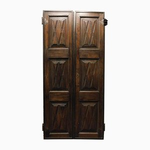 Antike doppelte Tür aus braunem Nussholz & Eisen, 1600er