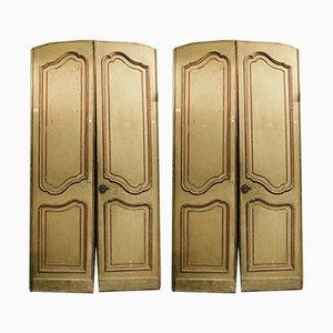 Antike italienische Türen aus lackiertem Holz in Rot & Beige, 1700er, 2er Set