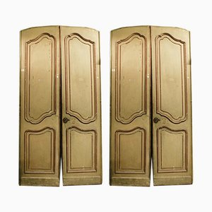 Antique Italian Red & Beige Lacquered Wood Doors, 1700s, Set of 2