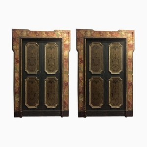 Italian Gold, Orange & Green Imitation Marble Door, 1700s, Set of 4