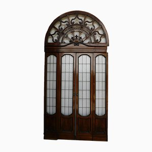 Puerta italiana antigua de nogal marrón y vidrio, década de 1900