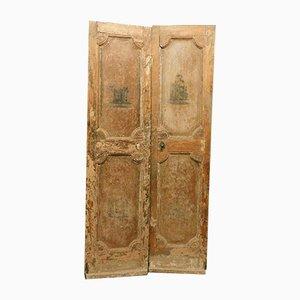 Antike italienische lackierte Doppeltür mit bemalten Skulpturen