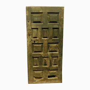 Antique Rustic Spanish Black Wooden Door with Panels, 1600s