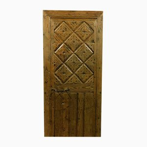 Porta antica rustica in legno di larice, Italia, inizio XIX secolo