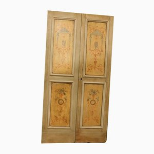 Antique Italian Beige and Yellow Wooden Double Door with Paintings, 1700s