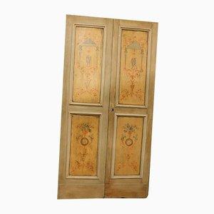 Antique Italian Beige and Yellow Wooden Double Door with Paintings, 1700s