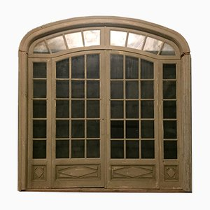 Antique French Beige Double-Glazed Door, 1900s
