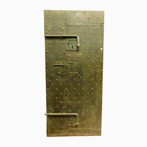 Antique Italian Black Wood Prison Door