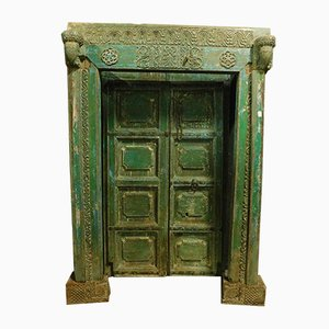 Antique Green-Lacquered Wood Entrance Door, 1800s