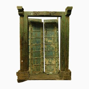 Antique Green Lacquered Wood Entrance Door, 1700s