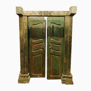 Antique Green & Red Lacquered Wood Entrance Door, 1700s