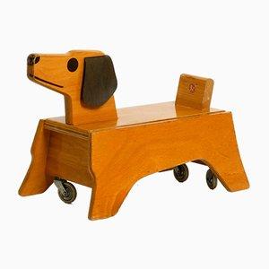 Perrito de juguete cabalgable vintage de madera de Konrad Keller Holzspielzeuge, años 60