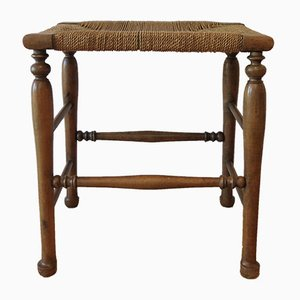 Antique Country Stool with Woven Seat, 1900s