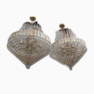 Crystal and Gold Metal-Plated Chandelier, 1970s, Set of 2