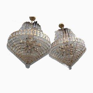 Lámpara de araña de cristal y metal dorado, años 70. Juego de 2